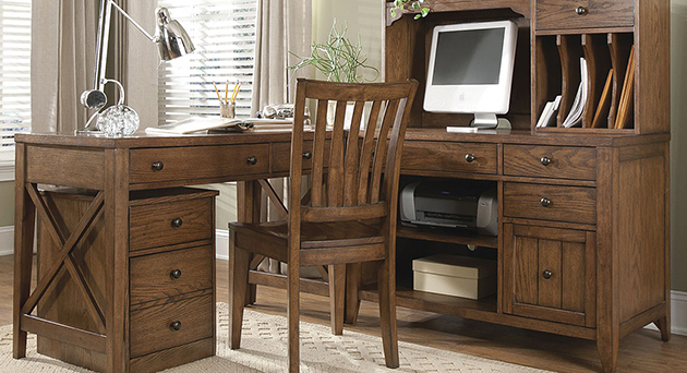 Brown wood home office desk return with hutch and chair